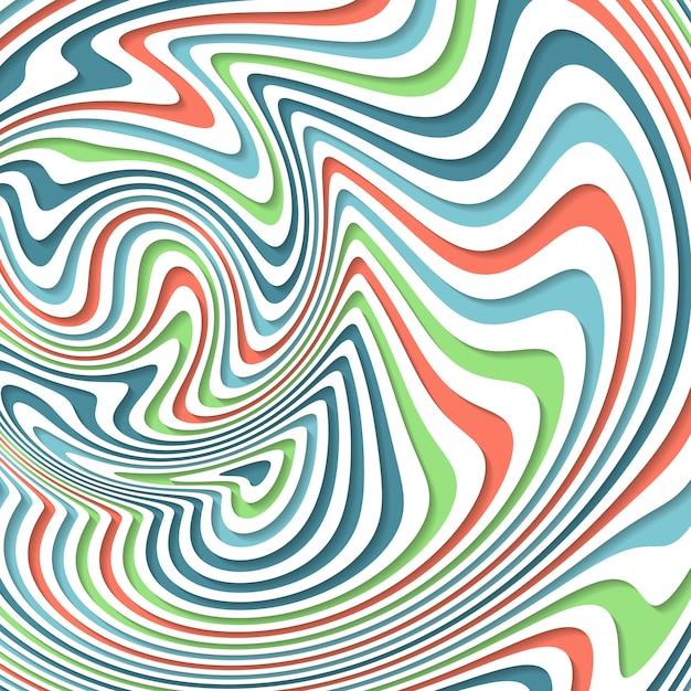 Optische illusie. abstracte achtergrond met golvend patroon. kleurrijke gestreepte werveling Premium Vector