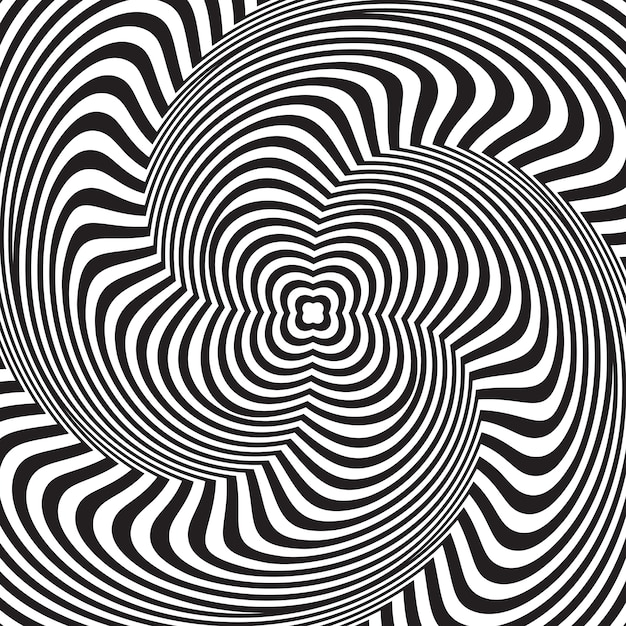 Optische illusie. abstracte achtergrond met golvend patroon. zwart-wit gestreepte krul Premium Vector