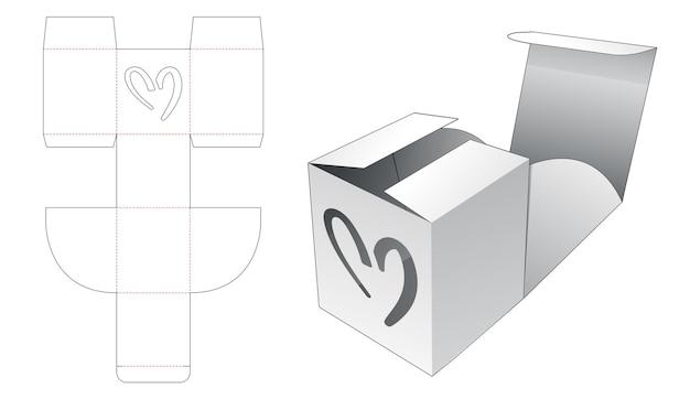 Opvouwbare vierkante doos met hartvormig venster gestanst sjabloon Premium Vector