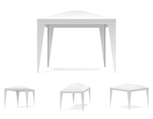 Opvouwbare witte tent of luifelset Gratis Vector