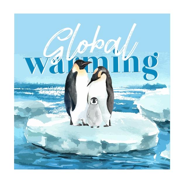 Opwarming van de aarde en vervuiling. brochure van de affichevlieger reclamecampagne, sparen de wereldsjabloon Gratis Vector
