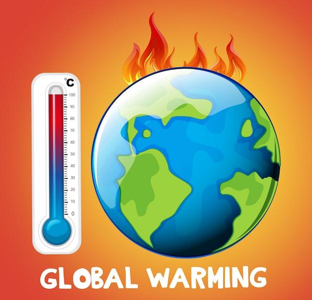Opwarming van de aarde met aarde in brand Gratis Vector