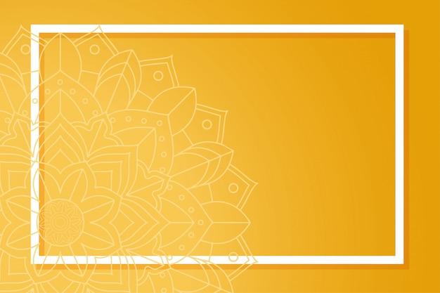 Oranje achtergrond met frame op mandala patroon Gratis Vector