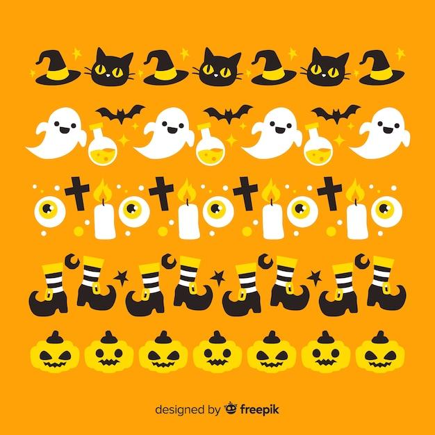 Oranje achtergrond met halloween-grensinzameling Gratis Vector