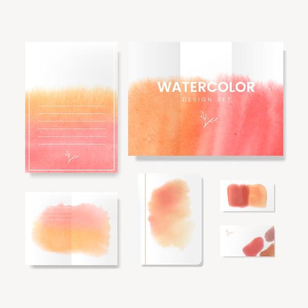 Oranje aquarel stijl kaart vector Gratis Vector