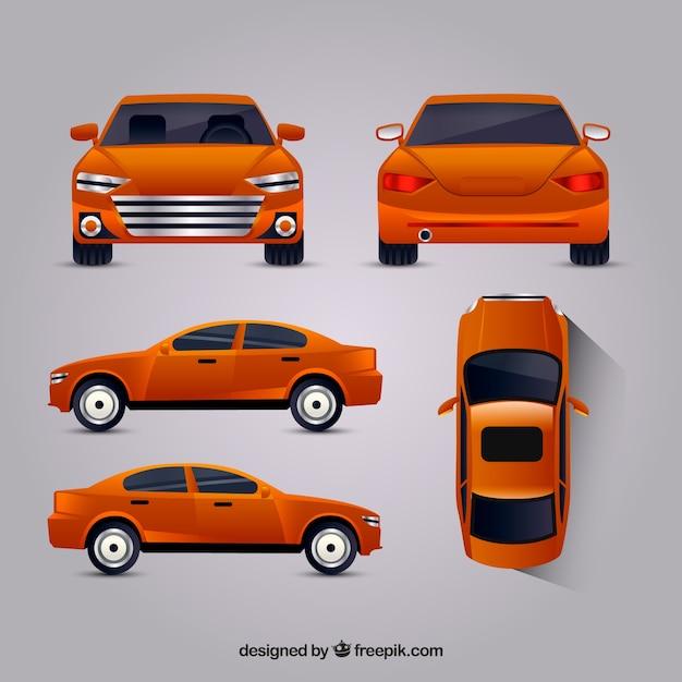 Oranje auto in verschillende uitzichten Gratis Vector