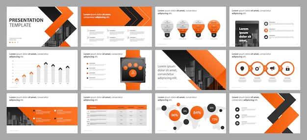 Oranje bedrijfspresentatie Premium Vector