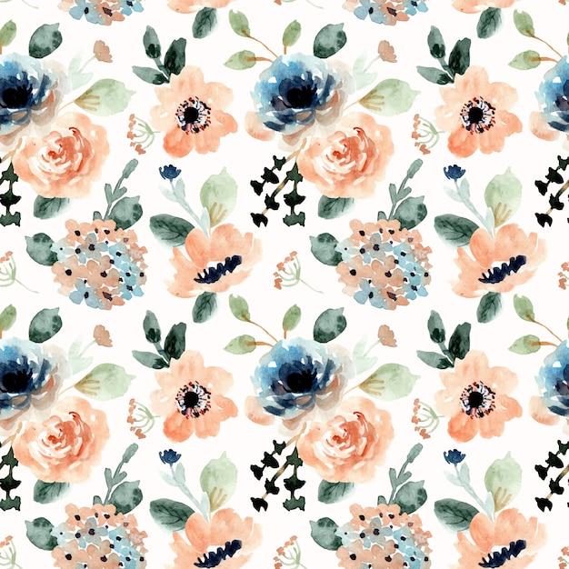 Oranje blauw bloemenwaterverf naadloos patroon Premium Vector