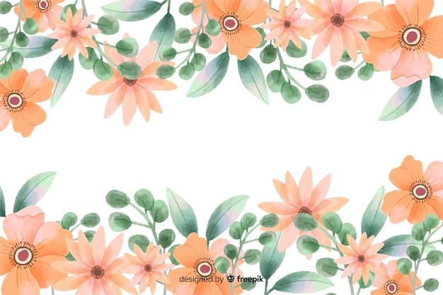 Oranje bloemenframe achtergrond met waterverfontwerp Gratis Vector