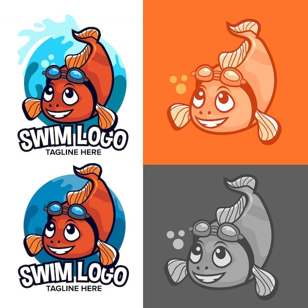 Oranje clown vis zwemmen school logo met mascotte Premium Vector
