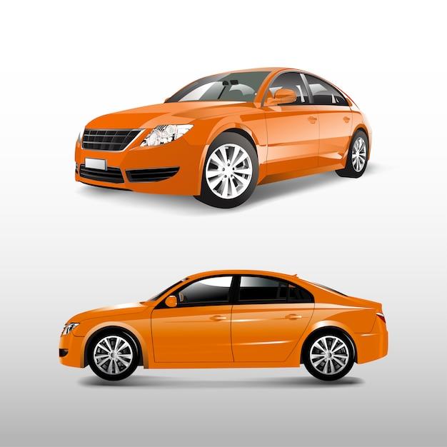 Oranje die sedanauto op witte vector wordt geïsoleerd Gratis Vector
