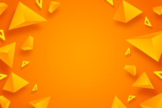 Oranje driehoeks 3d ontwerp als achtergrond Gratis Vector