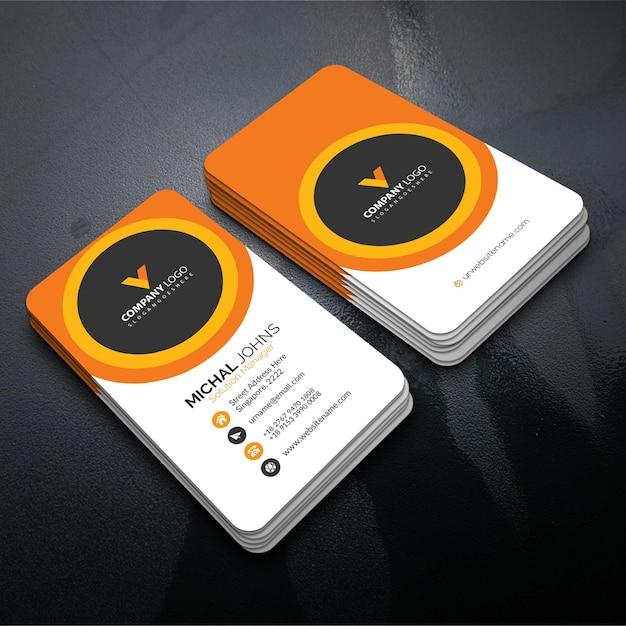 Oranje elegante bedrijfskaart Gratis Vector