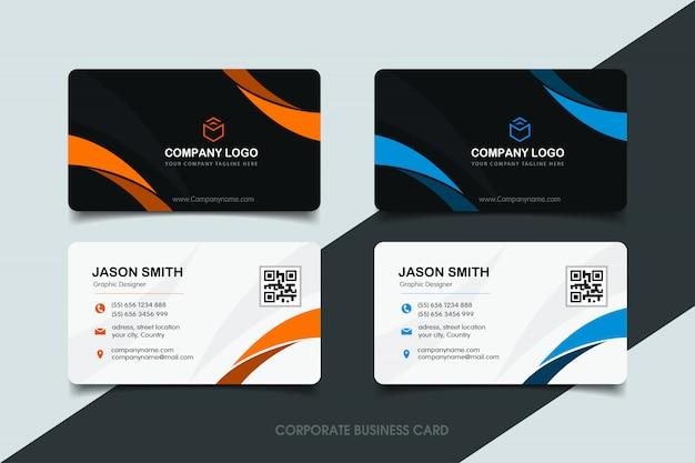 Oranje en blauw golvend visitekaartje Premium Vector