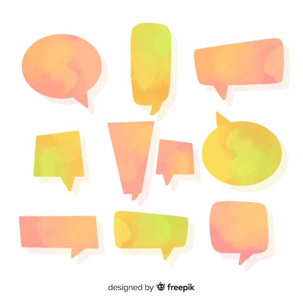 Oranje en gele watergekleurde tekstballonnen Gratis Vector
