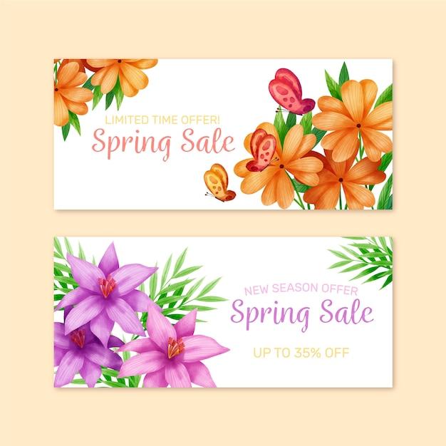 Oranje en violette bloemen lente verkoop aquarel banner Gratis Vector