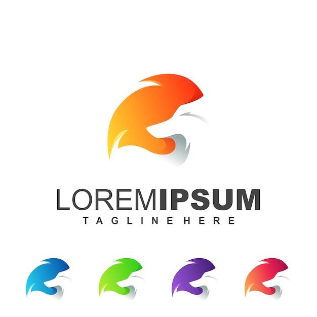 Oranje fox-logo Premium Vector