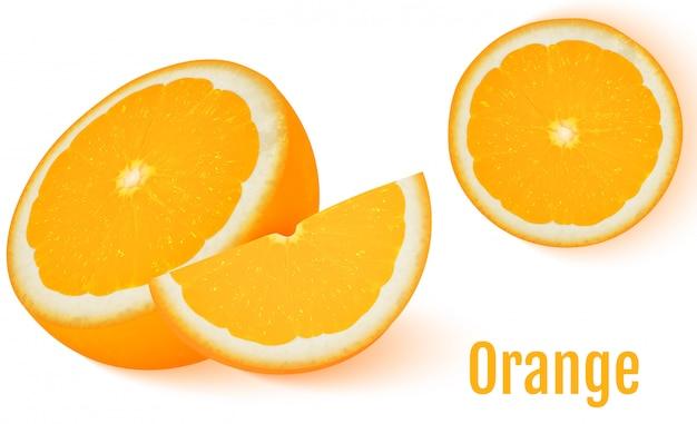 Oranje fruit dat op witte achtergrond wordt geïsoleerd. Premium Vector