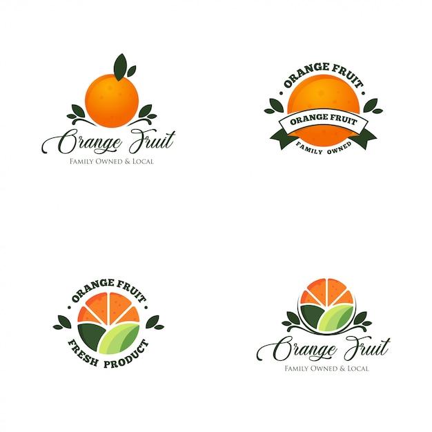 Oranje fruit logo set vector Premium Vector