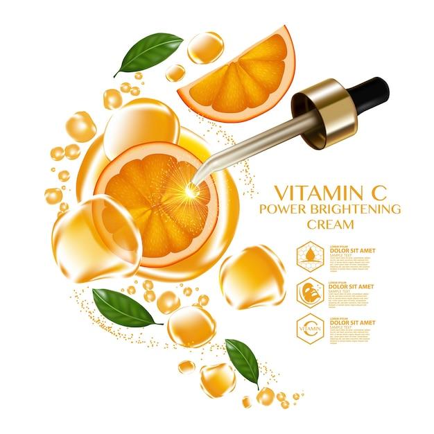Oranje fruit vitamine serum vocht huidverzorging cosmetisch. Premium Vector