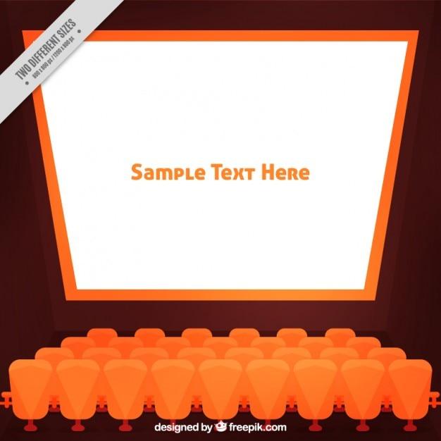 Gratis 2 Fauteuils.Oranje Geometrische Bioscoopscherm Met Fauteuils Vector Gratis