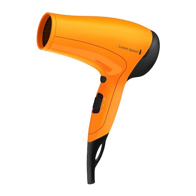 Oranje haardroger geïsoleerd Premium Vector