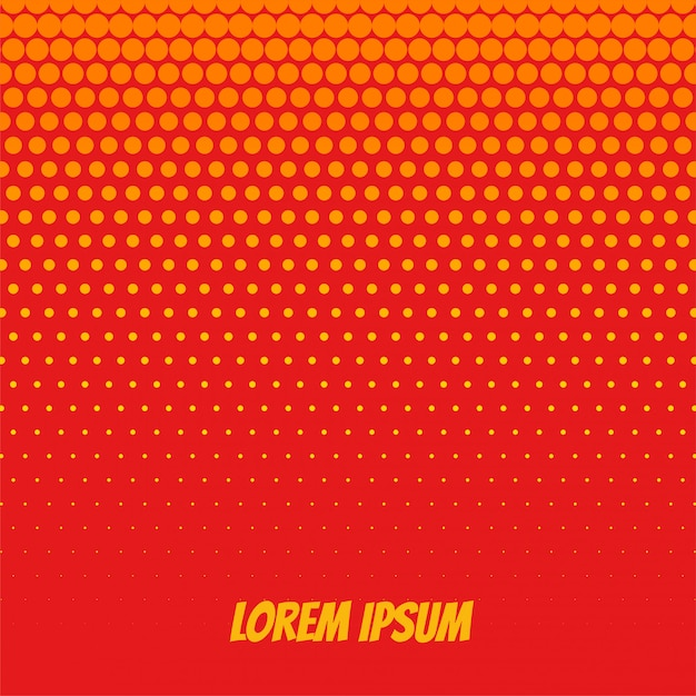 Oranje halftone achtergrond in komische stijl Gratis Vector