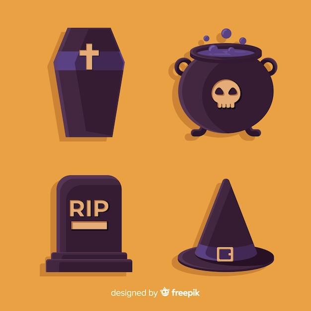 Oranje halloween-elementeninzameling Gratis Vector