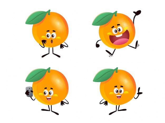 Oranje karakter illustratie overzicht hand getrokken ontwerpstijl, presentatie, verrast, blij, met handphone Premium Vector