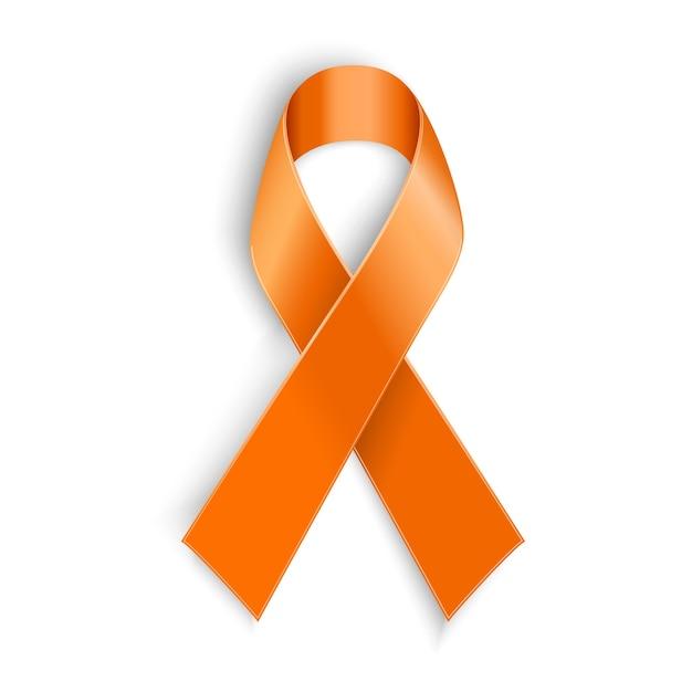 Oranje lint als symbool van dierenmisbruik, leukemiebewustzijn, nierkankervereniging, multiple sclerose Premium Vector