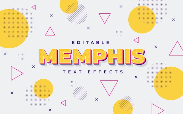 Oranje memphis teksteffect Premium Vector