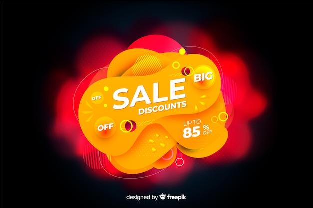 Oranje verkoopachtergrond met vloeibaar effect Gratis Vector