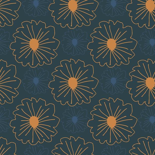 Oranje voorgevormde bloemen naadloze patroon op donkerblauwe achtergrond. eenvoudige botanische achtergrond. Premium Vector