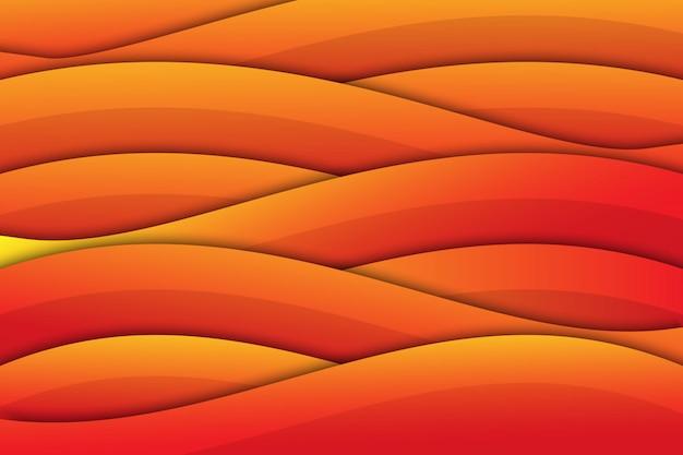 Oranje wave geometrische papercut achtergrond Premium Vector