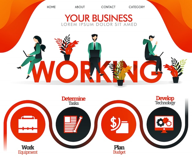 Oranje websiteillustratie over werken Premium Vector