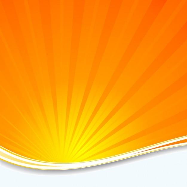 Oranje zonnestraal achtergrond Gratis Vector