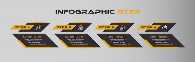 Oranje zwarte donkere infographic met vier stappen Premium Vector