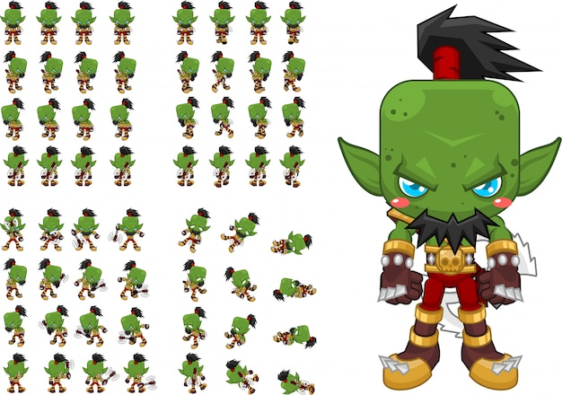 Orc warrior game character Premium Vector