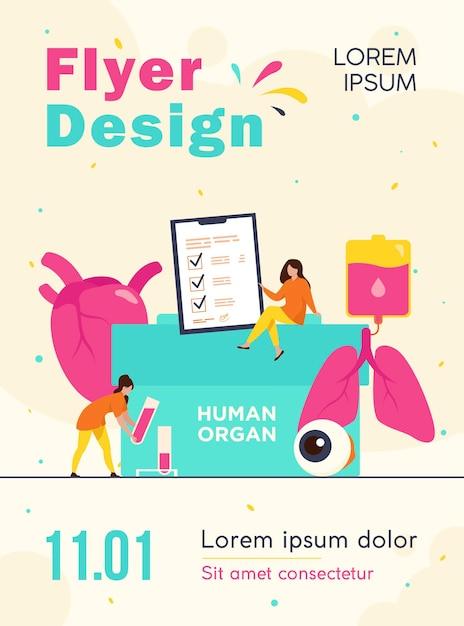 Orgaandonatie flyer-sjabloon Gratis Vector