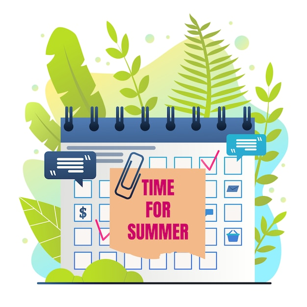 Organisator inscription time voor summer cartoon Gratis Vector