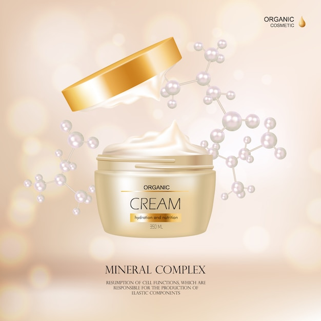 Organisch kosmetisch concept met roomcontainer en gouden dekking voor reclame in modetijdschrift r Gratis Vector