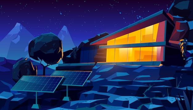 Organische architectuur eco huis met zonnepanelen Gratis Vector