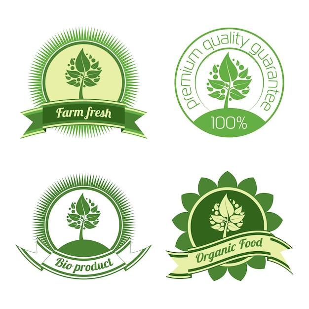 Organische labels en elementen Premium Vector