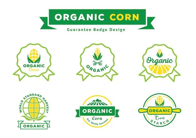 Organische maïs garantie badge ontwerpset Premium Vector