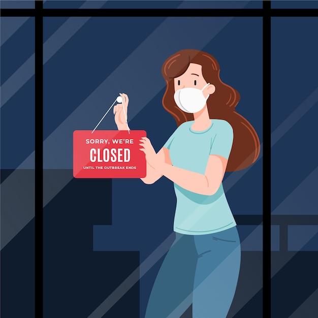 Organische platte mensen die een gesloten uithangbord hangen Premium Vector