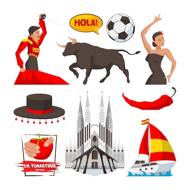 Oriëntatiepunten en culturele voorwerpen en symbolen van spanje barcelona. spanje cultuur, illustratie van toerisme spaans, bouwen en corrida Premium Vector