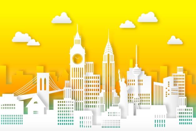 Oriëntatiepunten skyline ontwerp in papierstijl Gratis Vector
