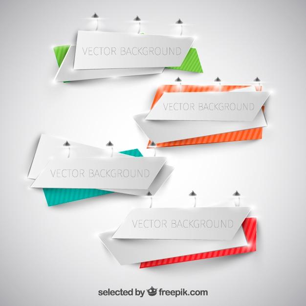 Origami banners template Gratis Vector