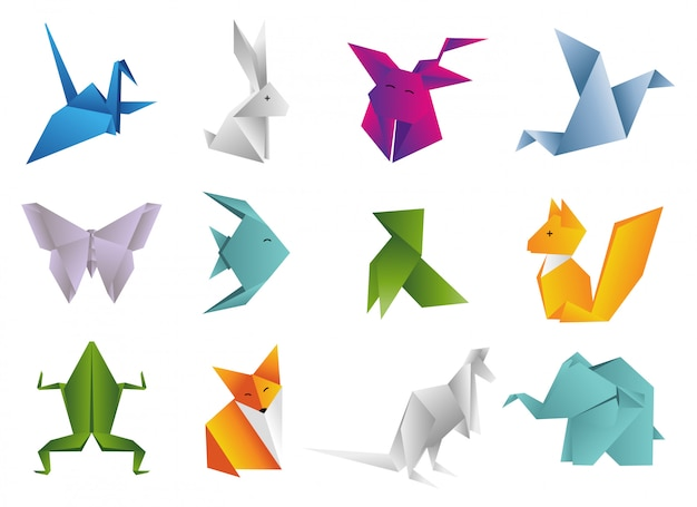 Origami dieren instellen Premium Vector