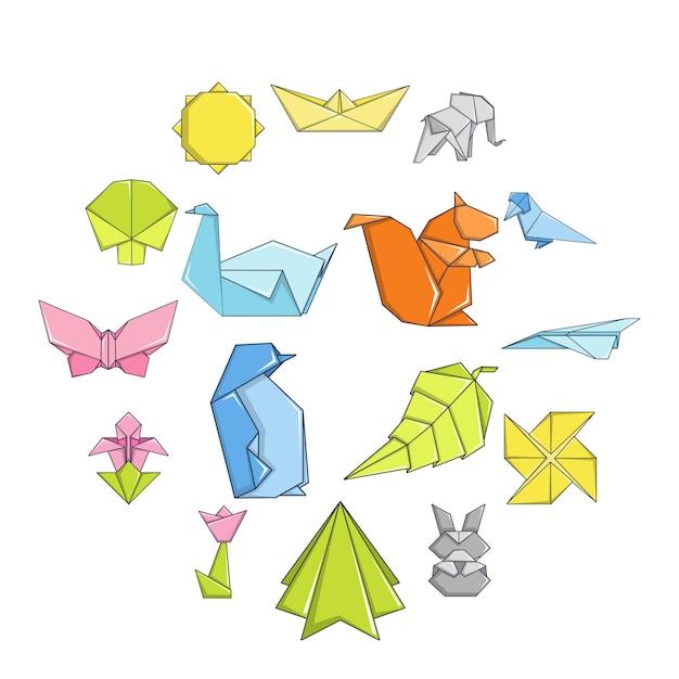 Origami icon set, cartoon stijl Premium Vector